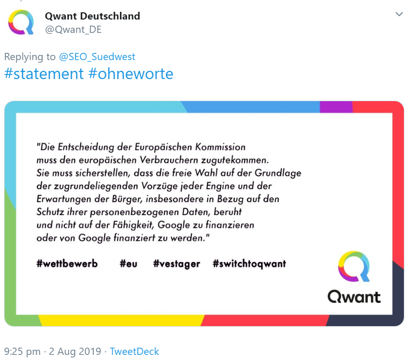 Qwant Germany: Response to Google's announcement on the selection of default search engines on Android devices