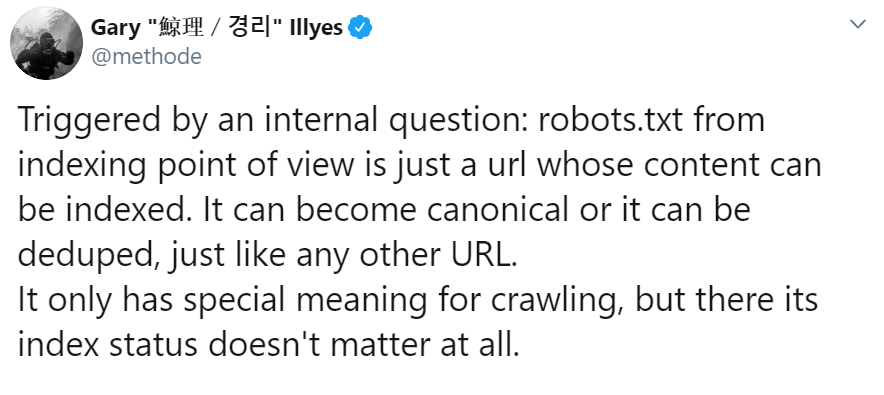Google: The indexing status of robots.txt does not matter for the analysis