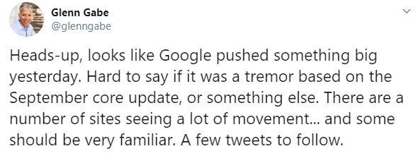 Was there a big update of Google around 23/10?