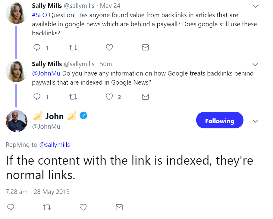 Google: backlinks behind paywalls count