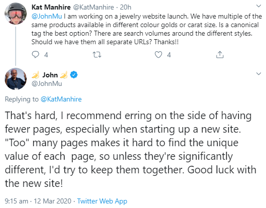 Google: start with a few pages for new websites