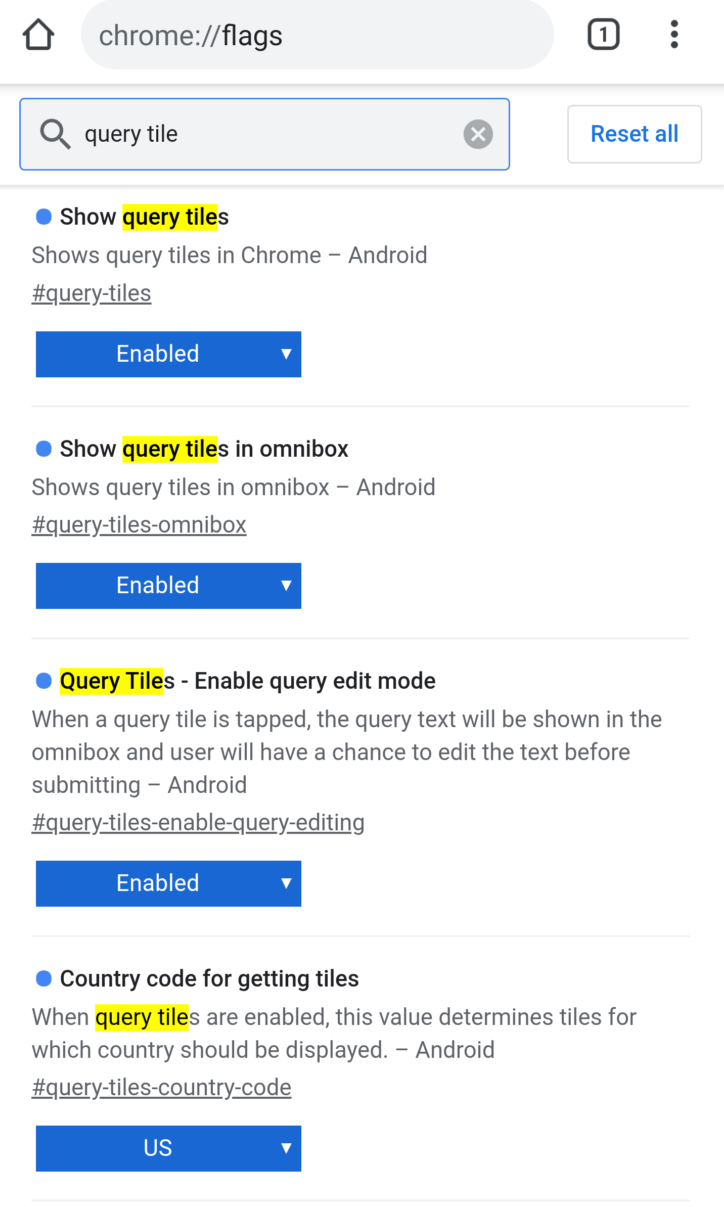 Google Chrome Canary: flags for query tiles