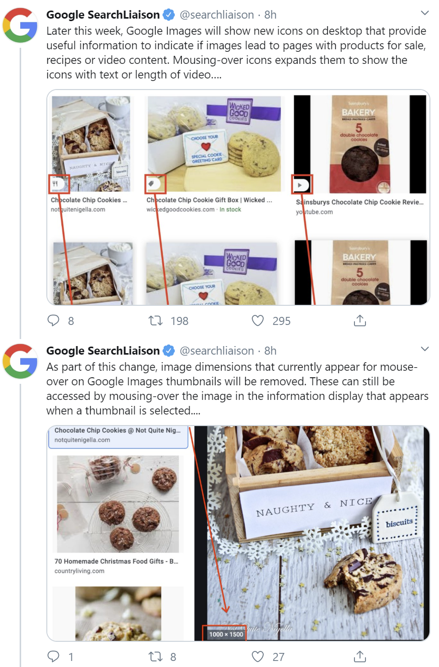 Google: extensive information in image search for product offerings, recipes and videos