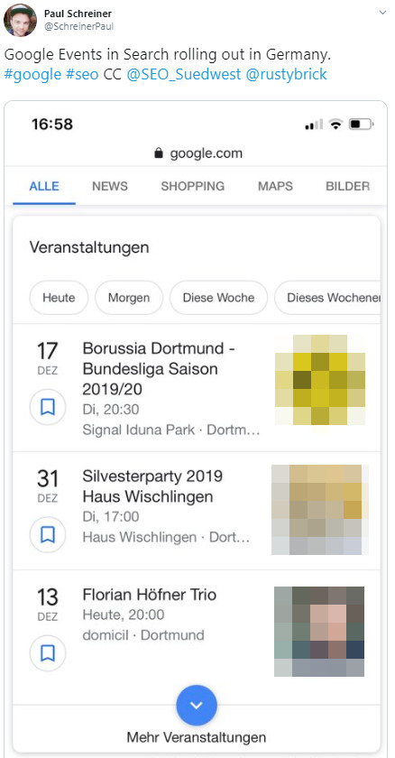 Google now shows events in German search