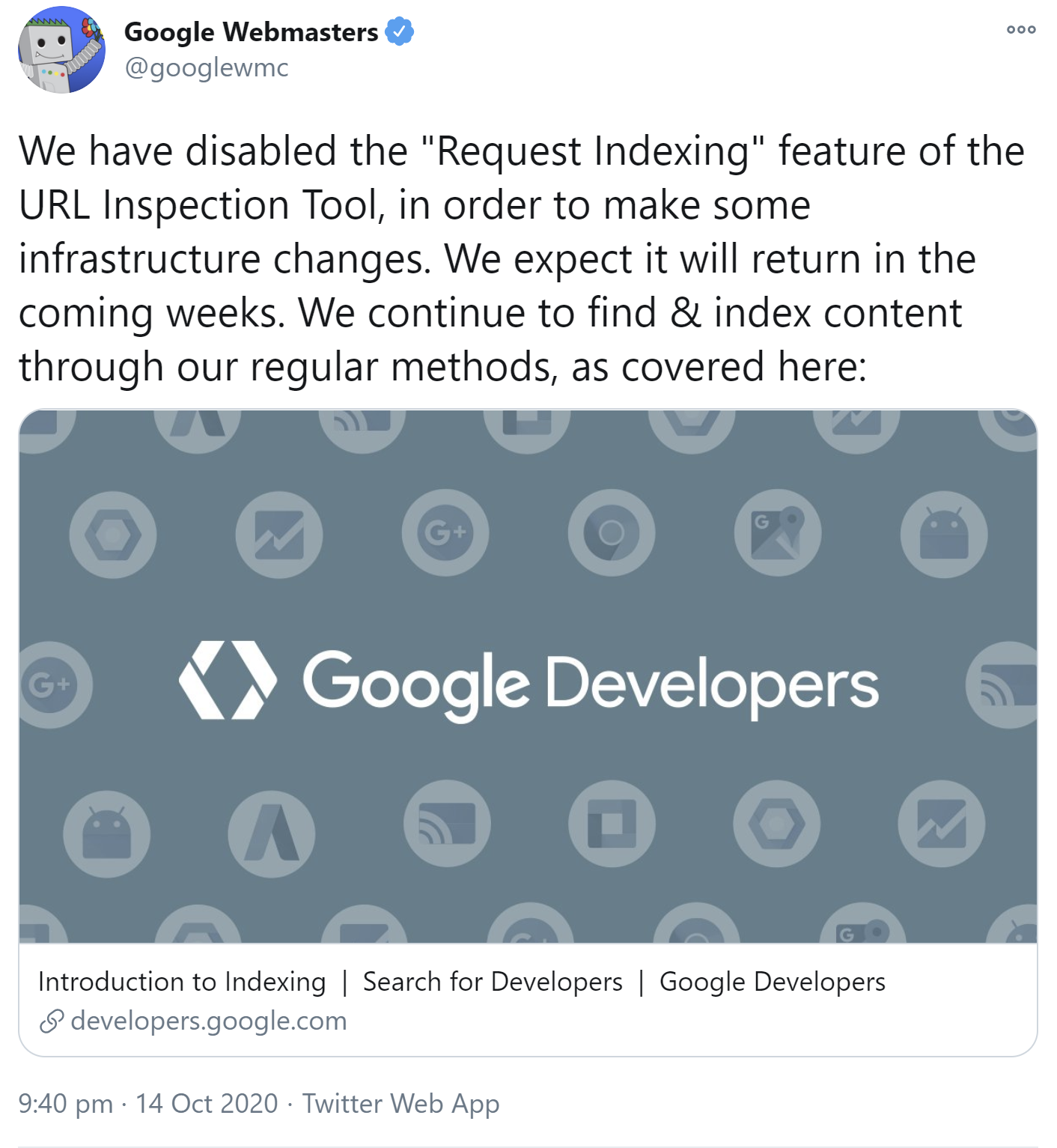 Google Search Console: URL Submission to URL Inspection Tool for Indexing Temporarily Unavailable