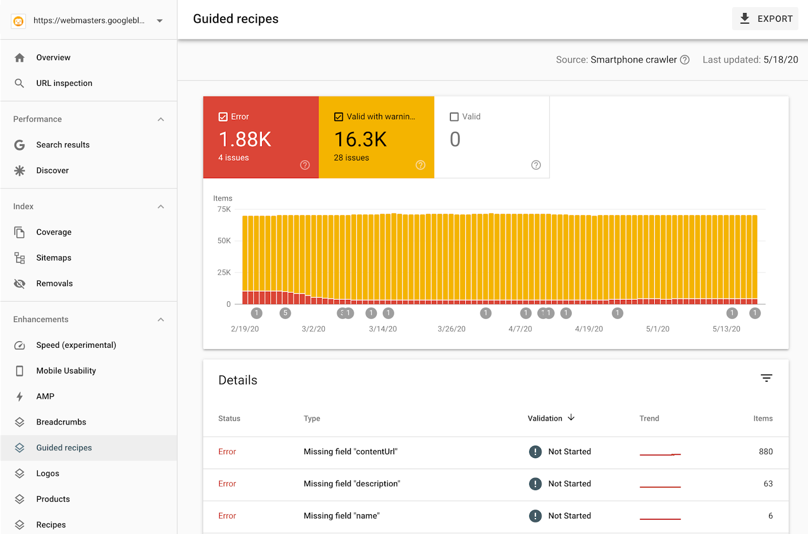 Google Search Console: Structured Revenue Report on Guided Recipes