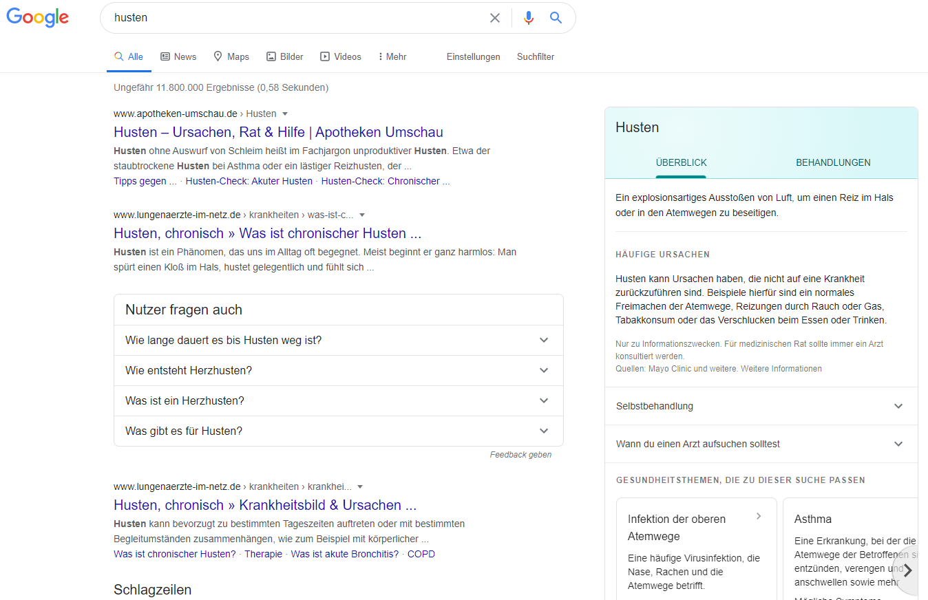 Google Health Card: search in German on the desktop