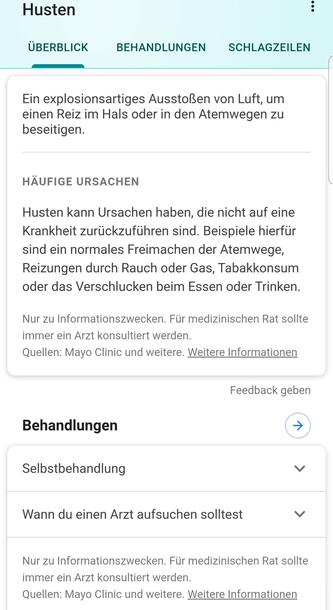 Health Card in German Google Search