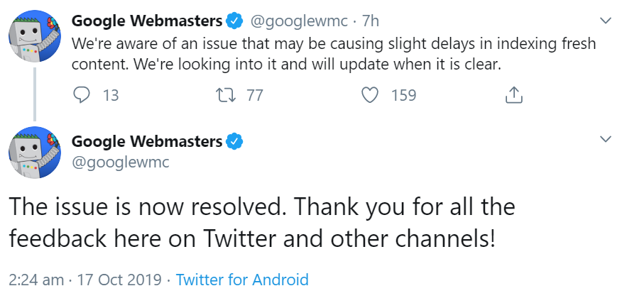 Google: Indexing Issues October 2019