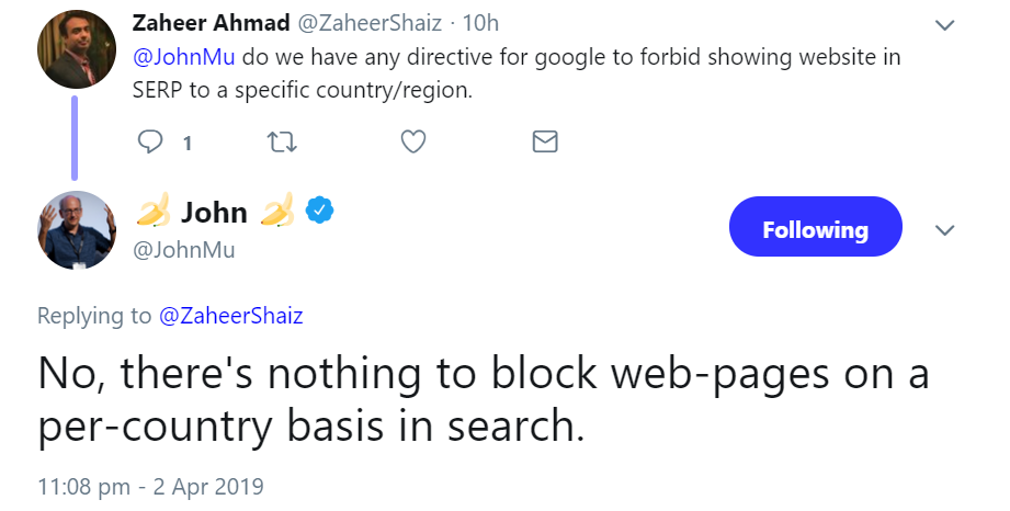 Google: impossible to avoid search results in different countries