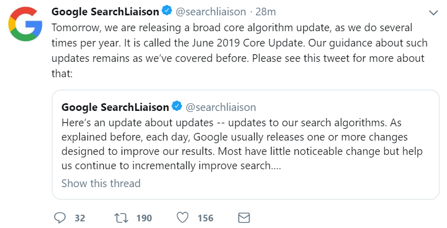 Google announces a basic update for June