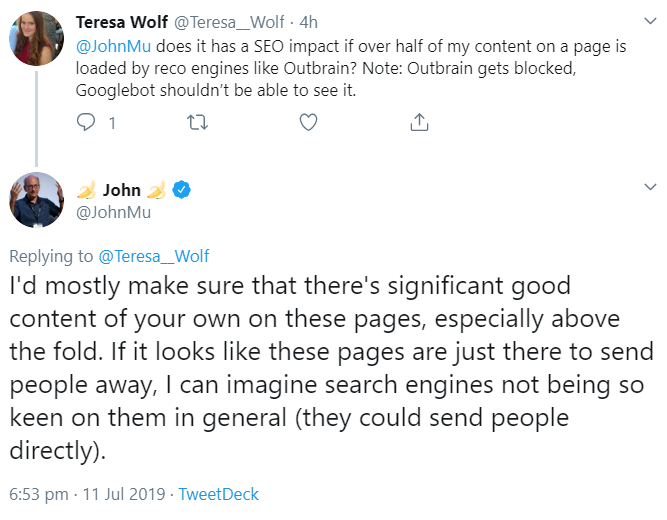 Google: Offer as much content as possible on websites