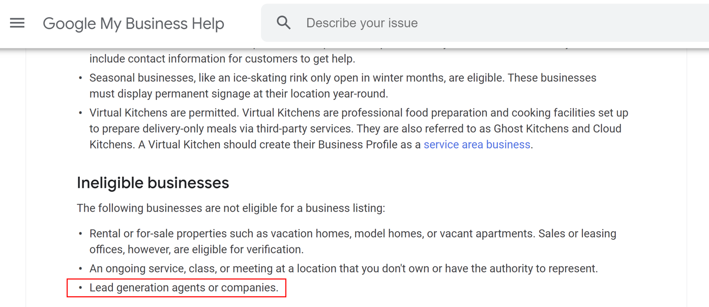 Google My Business: excluded lead generation companies