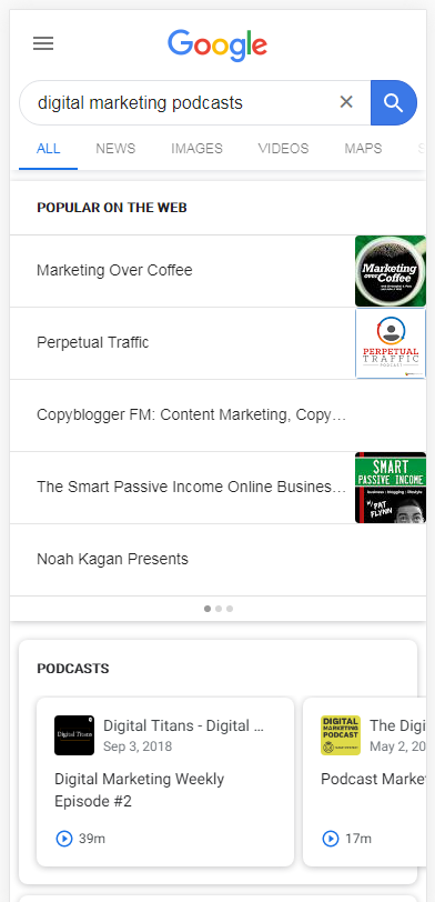 top presentation of podcasts on Google SERP