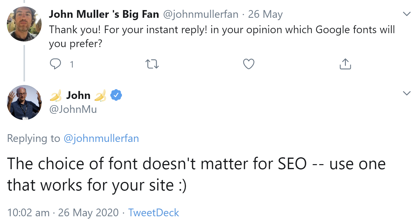 Google: the font doesn't matter for SEO