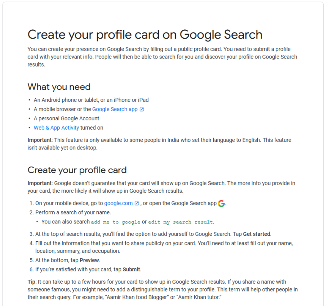 Research Profile Cards: Instructions