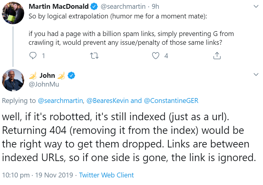Google: Do not block the robots.txt file to remove spam links