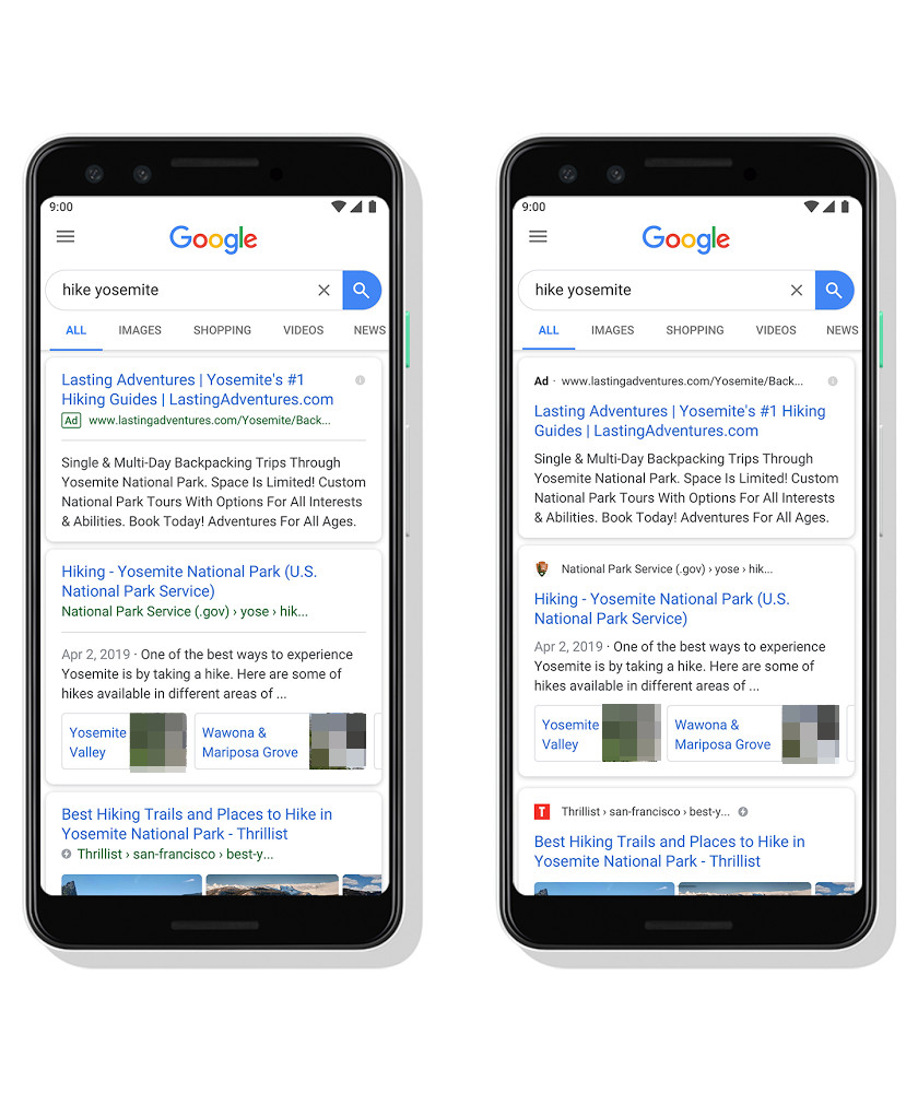 Google: new mobile search design