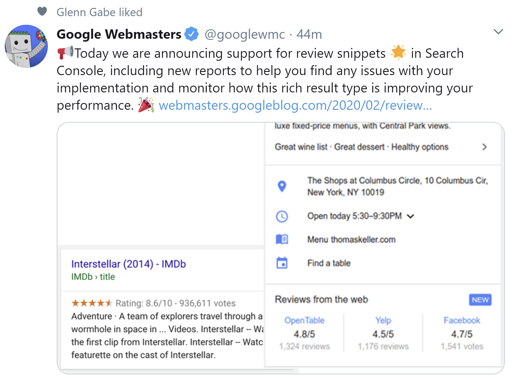 Google: Announcement of New Reports on Rich Snippets with Reviews