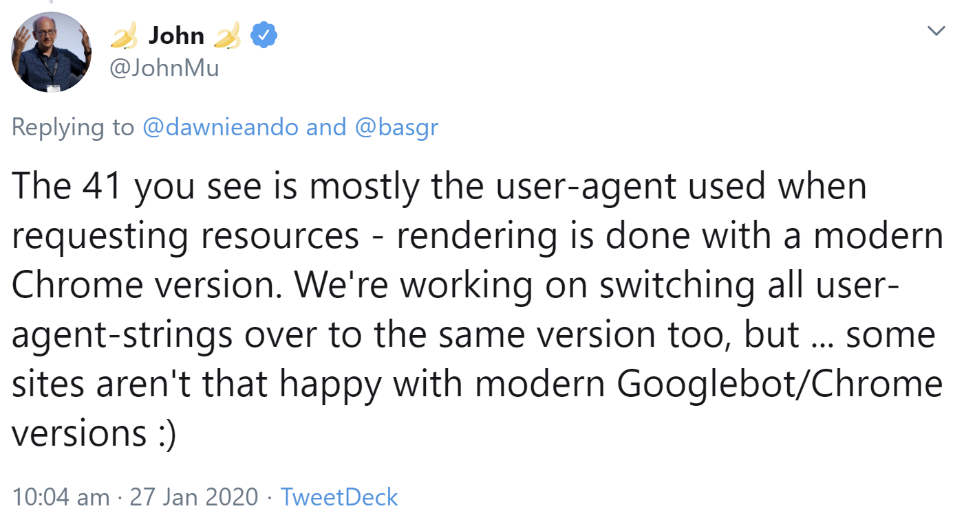 Google still uses a Googlebot based on Chrome 41 to explore resources