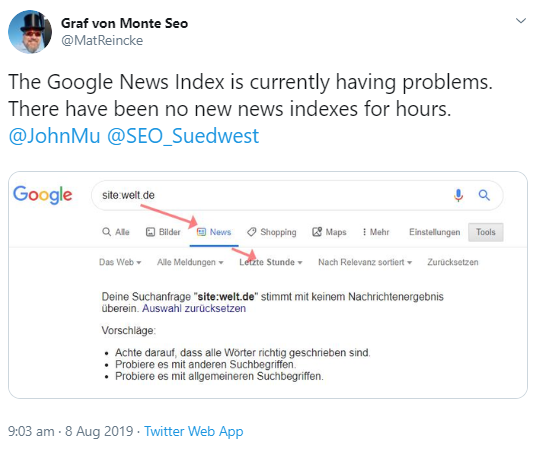 Google: still problems of indexation