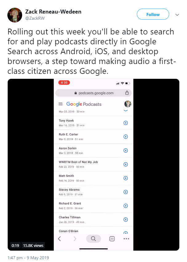 Google now displays podcasts in search results