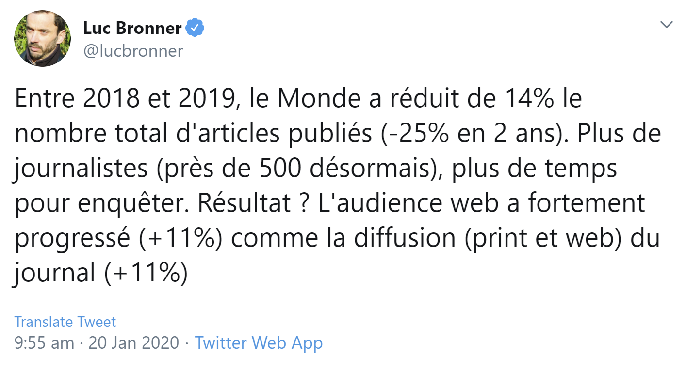 Le Monde: fewer articles, more writing, more readers