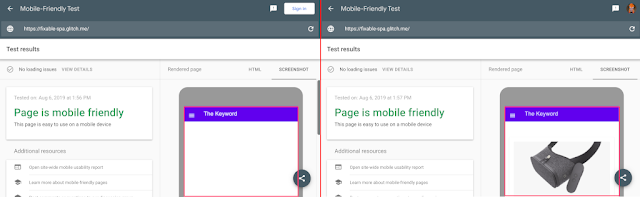 Mobile Friendly Test: Comparison between the old and the new Googlebot