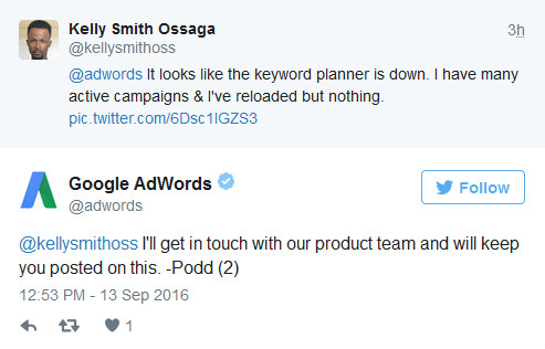 Google AdWords auf Twitter: technisches Problem beim Keyword-Planer