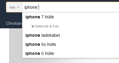 Amazon Autocomplete: Beispiel