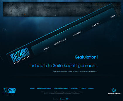 Kreative 404-Fehlerseite von Blizzard Entertainment