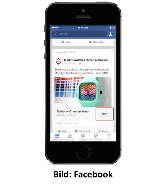 Facebook testet neuen 'Buy'-Button