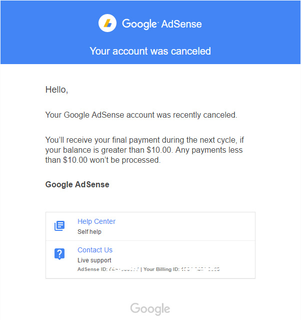 Google AdSense: Mail an Publisher