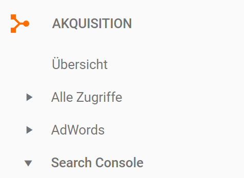 Google Analytics: Akquisition / Google Search Console