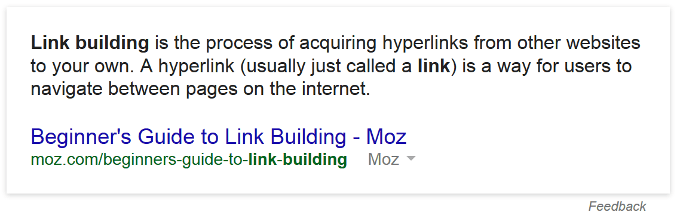 "Google Direct Answer zu ""Link Building"""