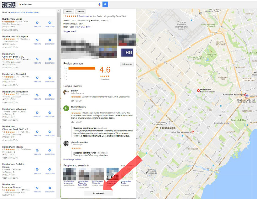 """See web results"" - button in Google Maps"