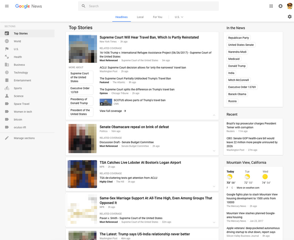 Google News: neues Layout