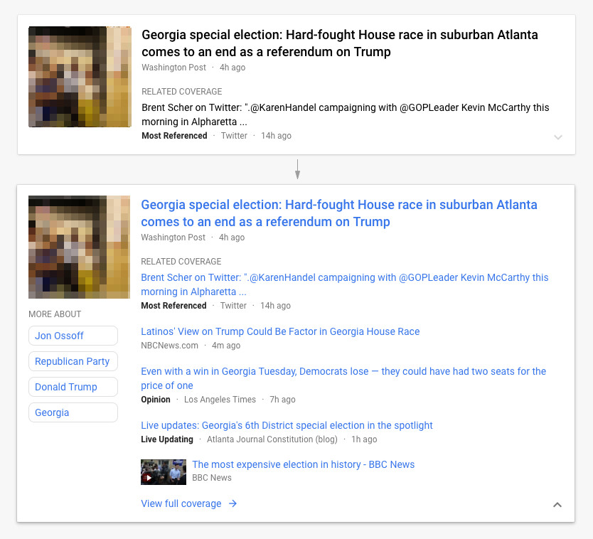 Google News: Story Cards