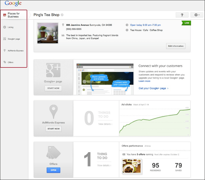 Google Places: neues Dashboard
