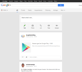 Google+: neues einspaltiges Layout