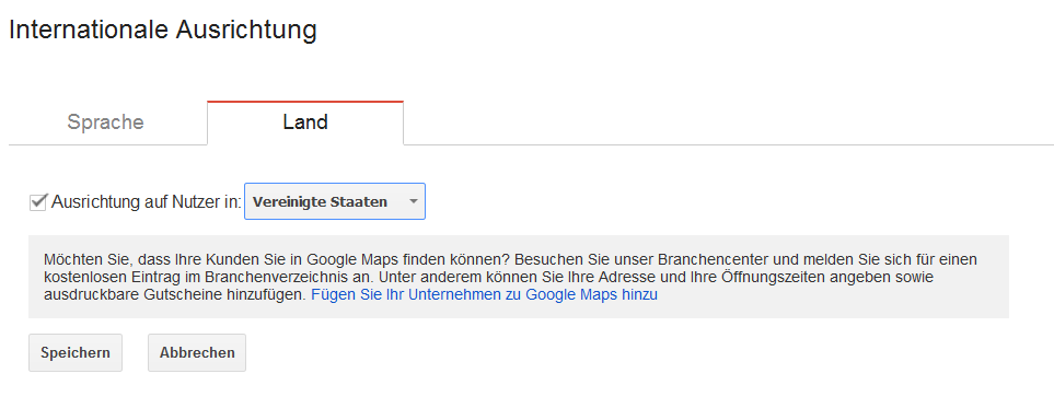 Google Search Console: internationale Ausrichtung