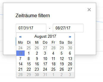 Datumsauswahl in der Google Search Console