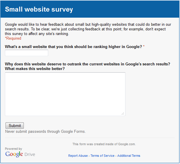 Google small website survey