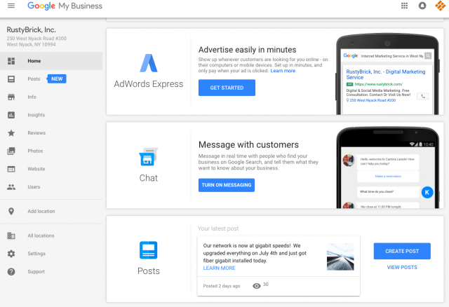 Google My Business Dashboard mit Messaging