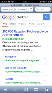 Mobile URLs auf Google-SERPs 1