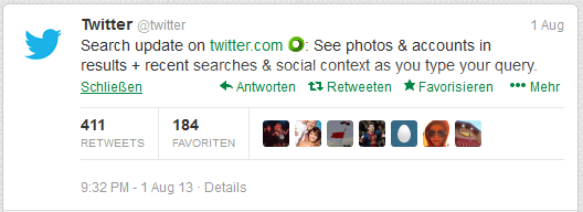 Twitter kündigt Universal Search an