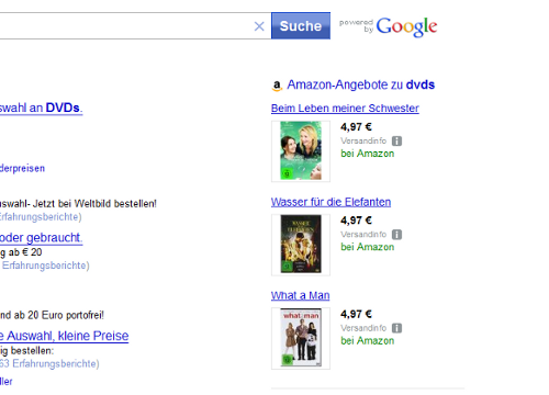 WEB.DE Search with Amazon shopping results