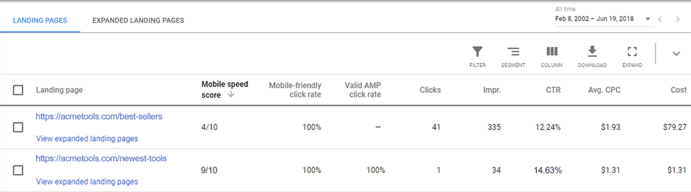Google AdWords: Mobile Landing Page Speed Score