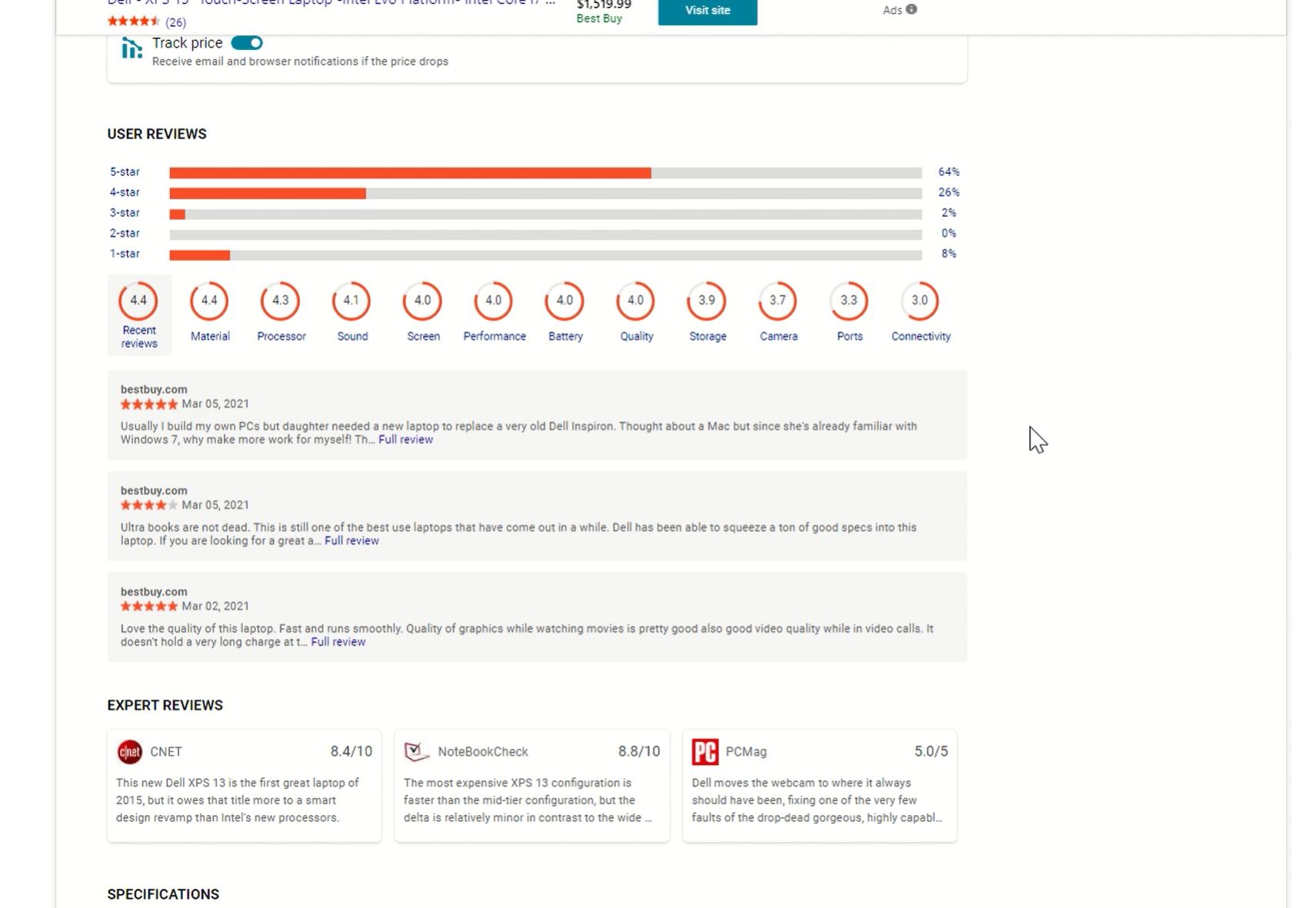 Avis d'experts Bing: Historique des prix
