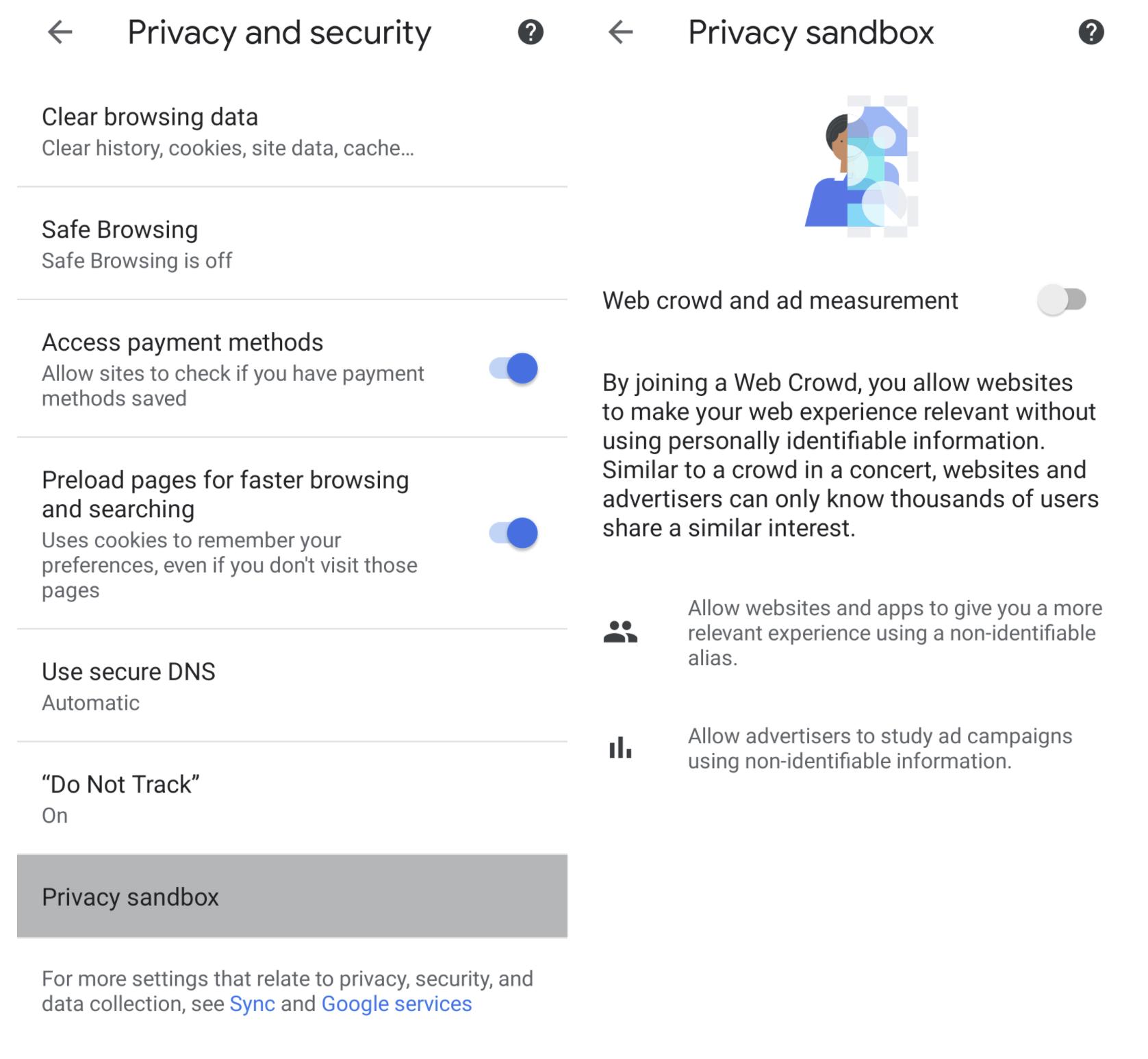 Paramètres du bac à sable de confidentialité dans Chrome 89